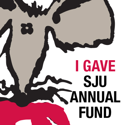 Photo of an SJU Annual giving logo featuring a rat